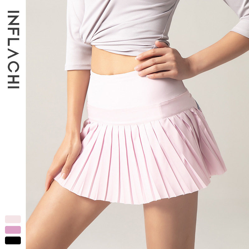 L-5 Tennis Skirt Yoga Shorts Gym Clothes Women Running Sports Fitness Golf Skirts with Pocket Skirt Sexy Yoga Pants Breathable Pleated Skirt