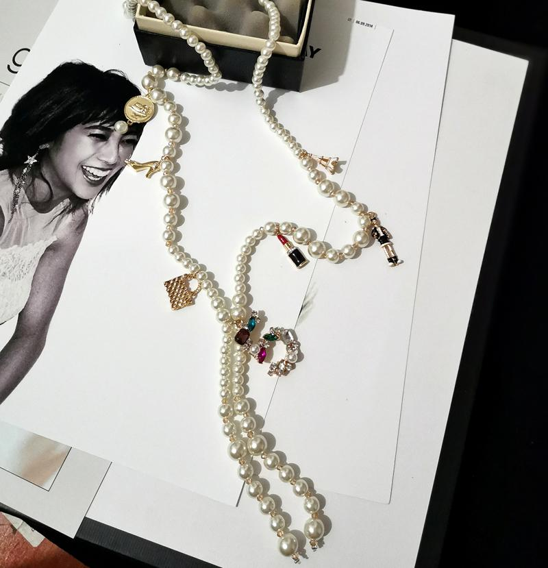 Channel Long Simulated Pearl Necklace for Women No.5 Pendant Trendy Design Style Pearl Tassel Necklace