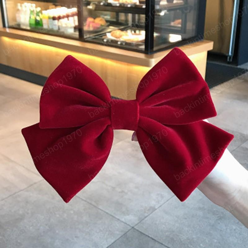 New fashion Autumn winter velvet cloth spring clip Solid color big bow hairpin Barrettes Women girls hair accessoriesr Headwear