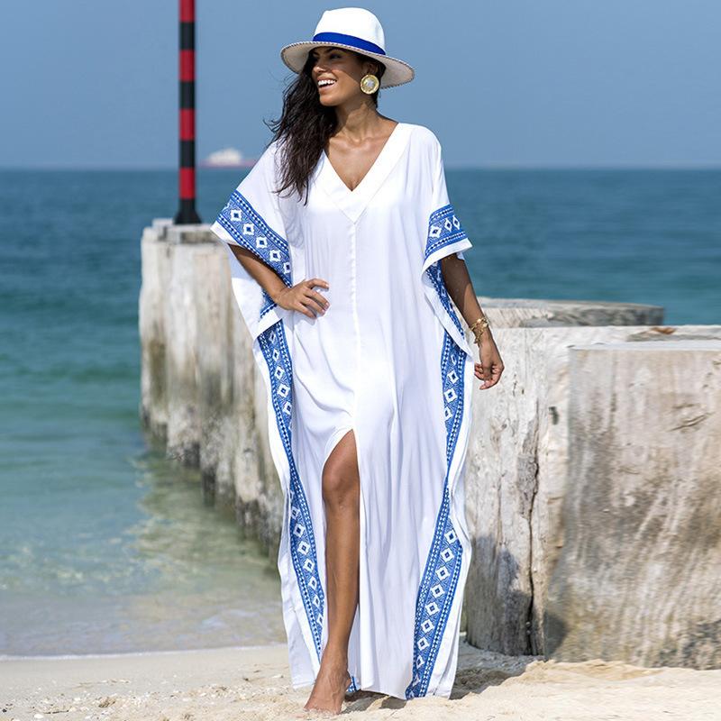 Kaftan Beach Cover up Summer Women Beachwear Cotton Tunic Oversize Bikini Cover-ups Robe de Plage Sarong Beach Tunic=