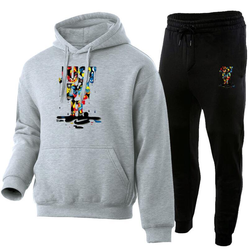 Men's print JUST letter suit brand sportswear sportswear suit men's sports Hoodie + pants suit casual sportswear men's Hoodie