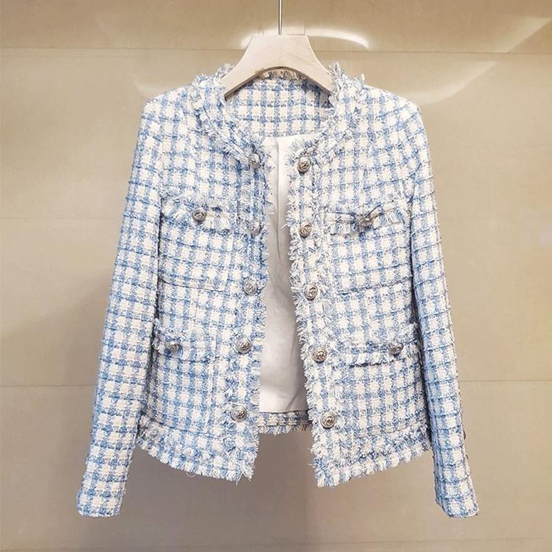 Tassel Plaid Tweed Jackets Women O-Neck Double Buttons Luxury Elegant Wool Coats Office Lady Autumn Winter Outwear Loose B355