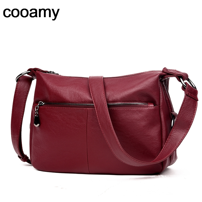 New Soft PU Leather Women Shoulder Bag Women Handbag Double Zipper Vintage Crossbody Bag Stitching Travel Messenger Bags Sac