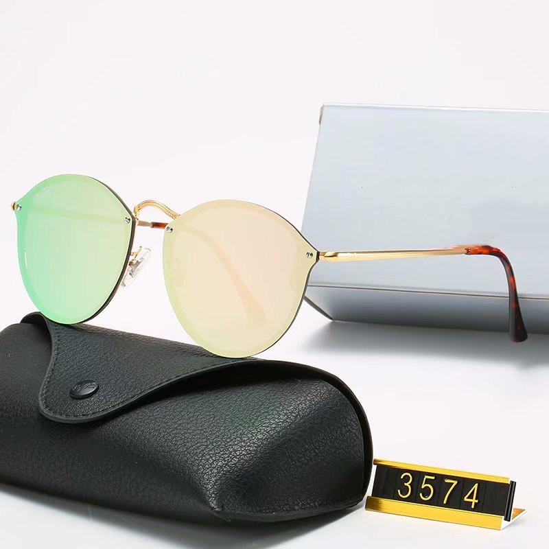 Classic Brand design Round Polarized Sunglasses driving Eyewear Metal Gold Frame Glasses Men Women Mirror Sunglasses Polaroid glass Lens