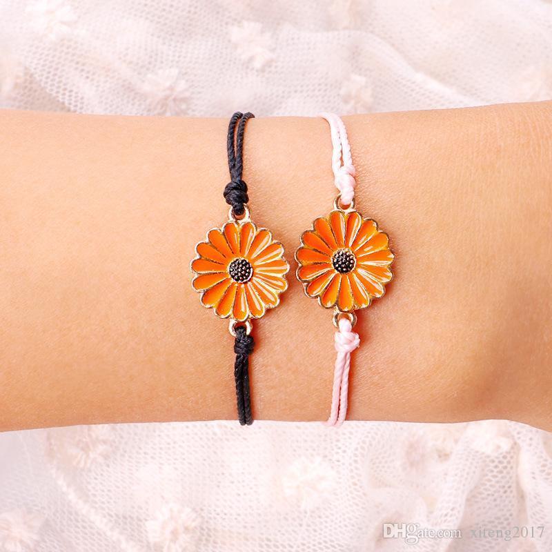 Handmade Wax Thread Woven Bracelets Multilayer Friendship Braided Bracelet Wax String With Chrysanthemum Flower Charm For Women Summer Beach