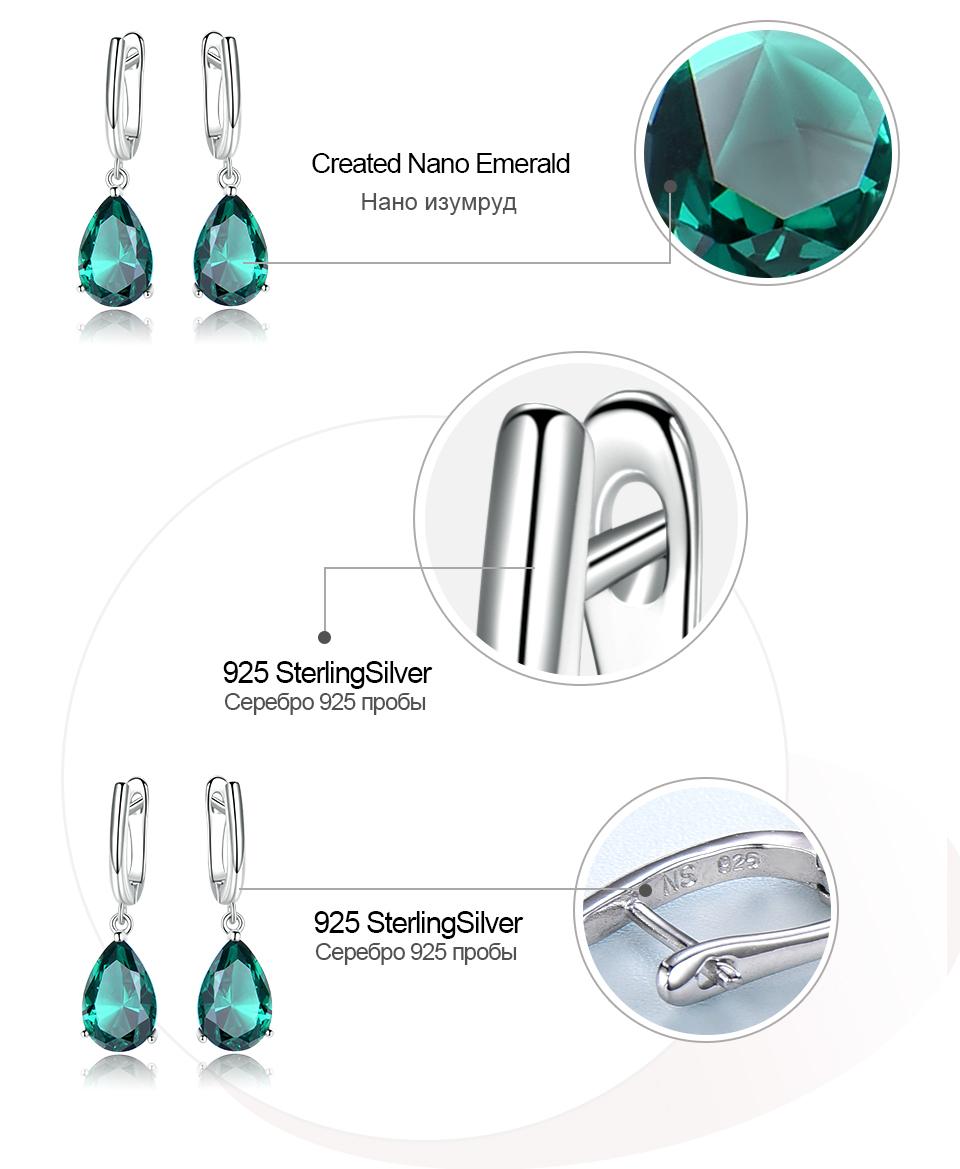 UMCHO Emerald 925 sterling silver earring for women EUJ094E-1-pc (7)