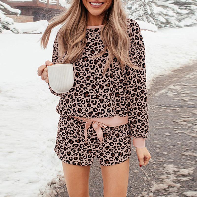 Leopard print sleepwear women spring summer long sleeve female pajama set fashion indoor loose two pieces loungewear nightwear (1)