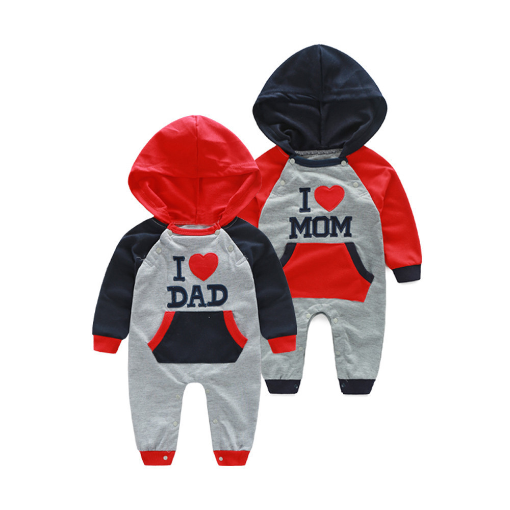 Toddler Infant Baby Boys Girls Embroidery Letter Print Hooded Romper Jumpsuit Outfits Twins Baby Romper Autumn Clothes HOOLER 201027