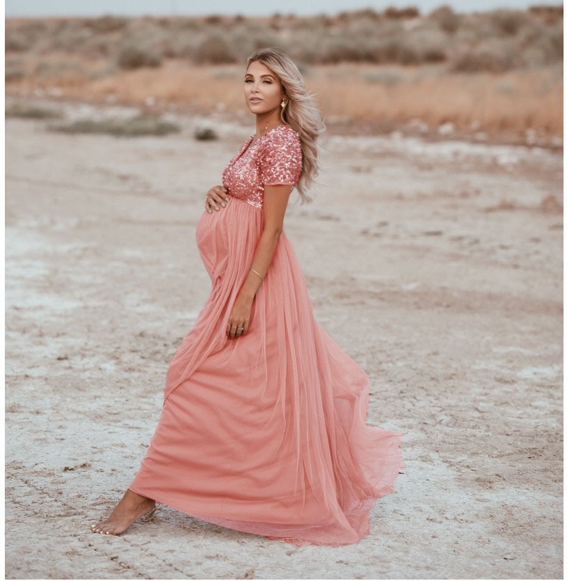 Elegence Maternity Photography Props Pregnancy Dress For Photo Shooting Sequins Tulle Pregnant Women Dresses Maxi Maternity Gown (2)