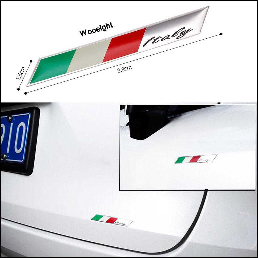 1Pc 3D Aluminum Italy Emblem Badge Flag Car Stickers Fender Trunk Decoration For Audi BMW VW Alfa Romeo FIAT Honda Benz (5)