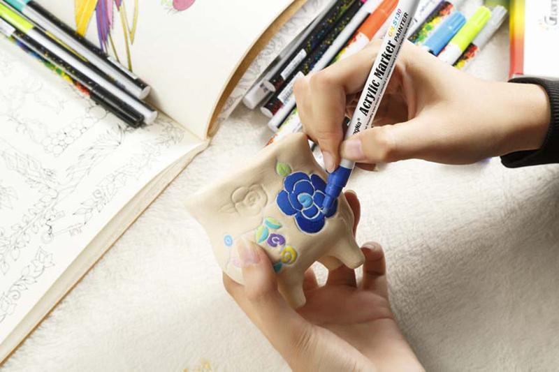 18 ColorsSet 0.7mm Acrylic Paint Marker pen for Ceramic Rock Glass Porcelain Mug Wood Fabric Canvas Painting Detailed Marking (35)