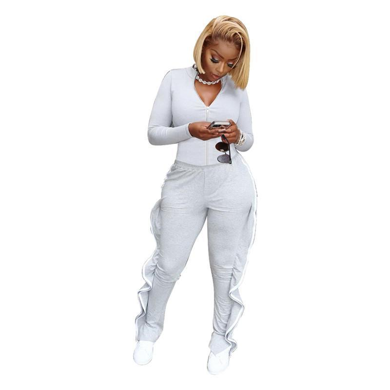 womens jacket sportswear two piece set outfits long sleeve tracksuit pants sportswear bodycon outerwear tights sports set hot klw5424