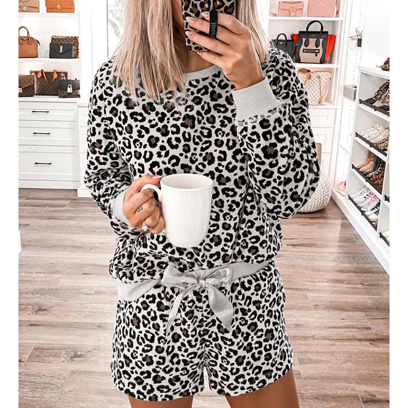 Leopard print sleepwear women spring summer long sleeve female pajama set fashion indoor loose two pieces loungewear nightwear (7)