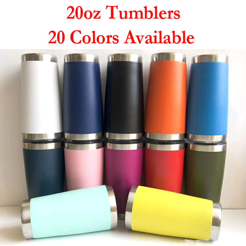 20oz Stainless Steel Tumblers Coffee Cups Vacuum Insulated Travel Water Bottle Outdoor Beer Mugs With Lids
