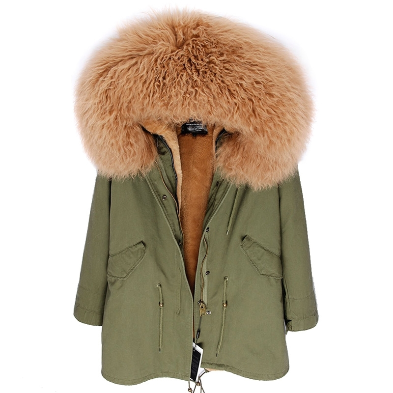 Abrigo para mujer corto de piel sintética ropa de piel de oveja Mongol Gruesa De Invierno Cálido Chaqueta