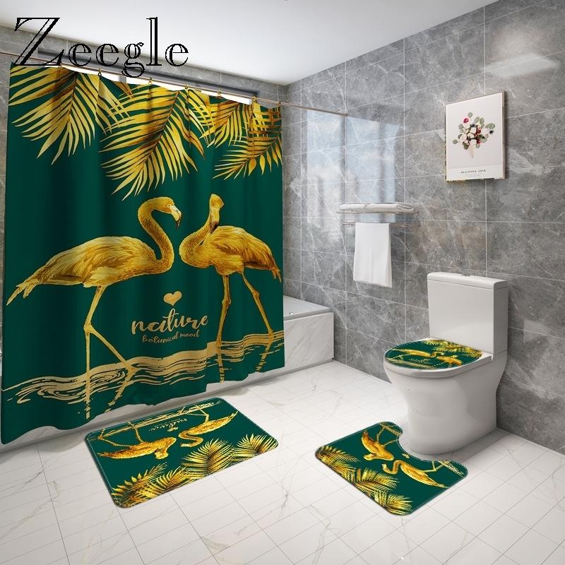 Animals Printed Bath Mat and Shower Curtain Set Microsoft Toilet Foot Carpet Anti Slip Bathroom Floor Mat Toilet Seat Cover Mat