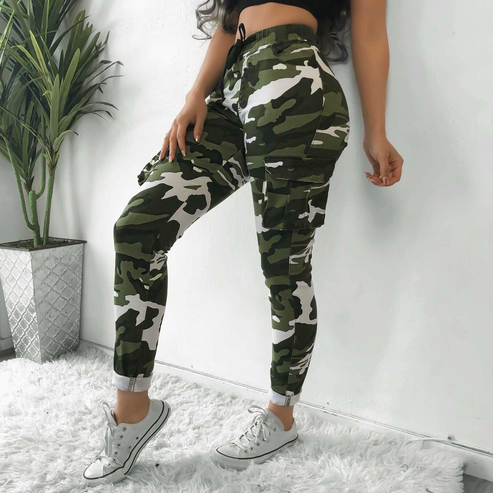 NUOVA linea donna Donna Mimetica Esercito Rose Stampa Pantaloni Denim Jeans skinny pants