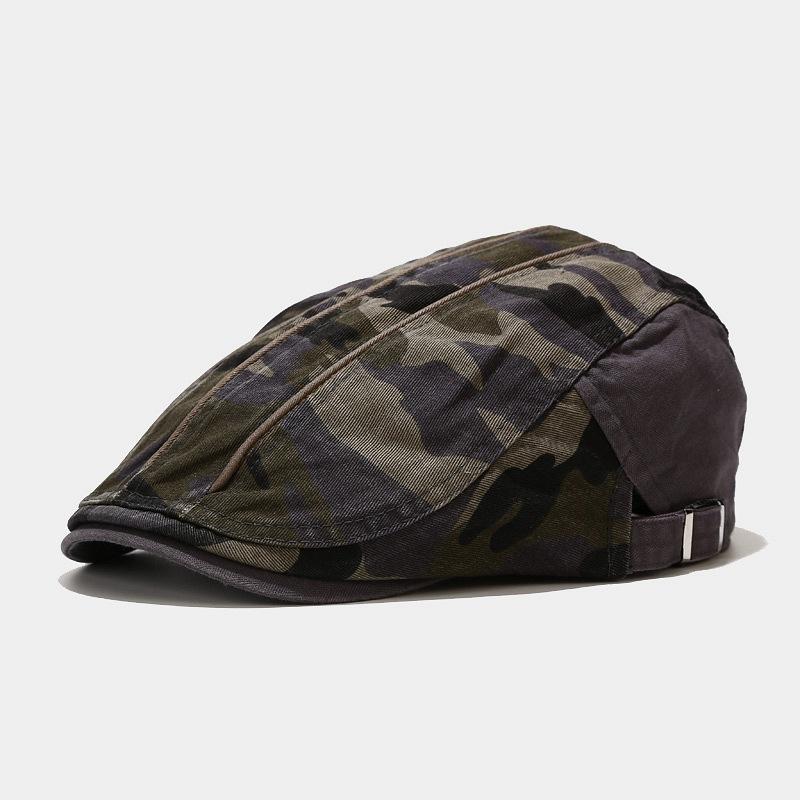 1pcs Spring Unisex Cotton Camouflage Beret Hat Buckle Adjustable Hunting Caps
