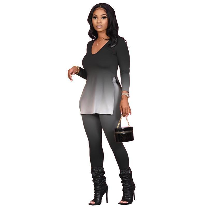 womens two piece set tracksuit shirt pants outfits long sleeve sportswear shirt trousers sweatsuit pullover tights sportswear hot klw5335