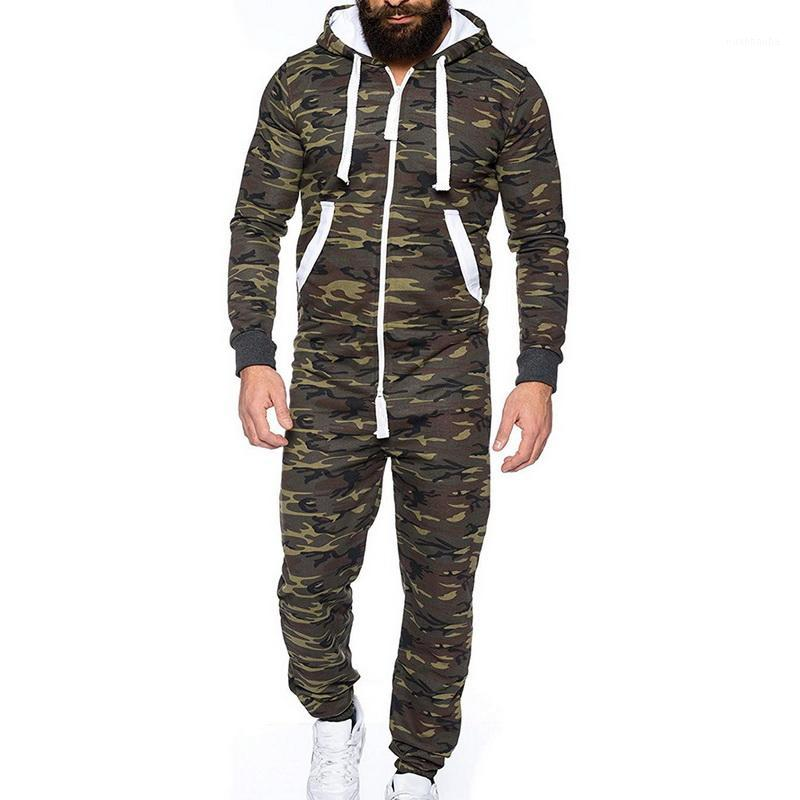 Autumn Winter Men's Zipper Jumpsuit Patchwork Sportswear Casual Hooded Sportswear With Pocket Thick Fashion One-piece Playsuit1