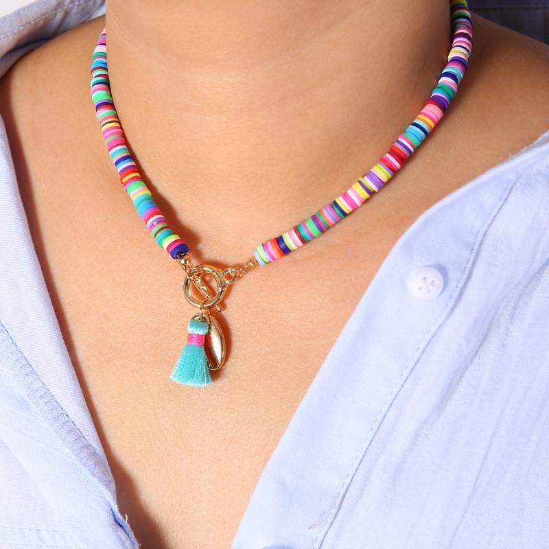 Gargantilla de arcilla polim/érica colorida con cuentas coloridas y peque/ñas piedras sint/éticas As Desciption azul celeste Pinhan