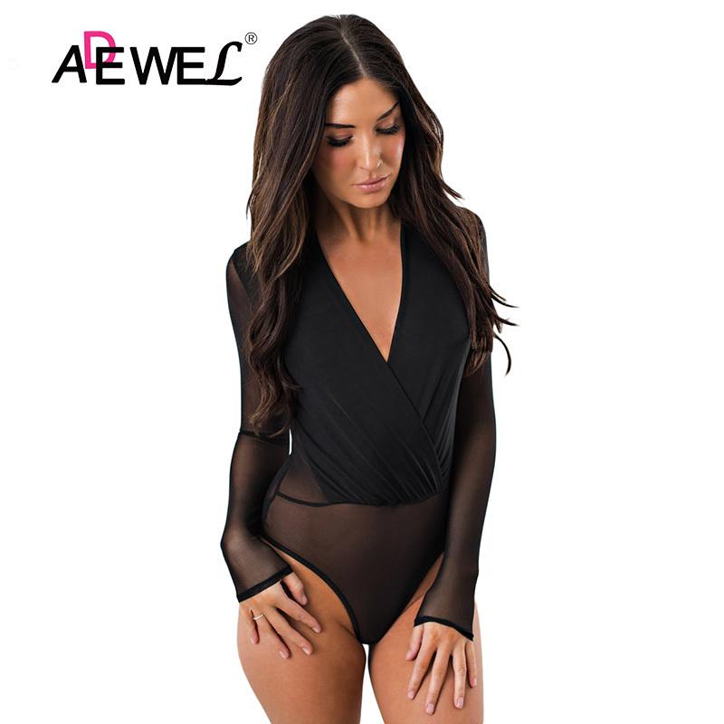 Black-Sheer-Long-Sleeve-V-Neck-Bodysuit-LC32250-2-1