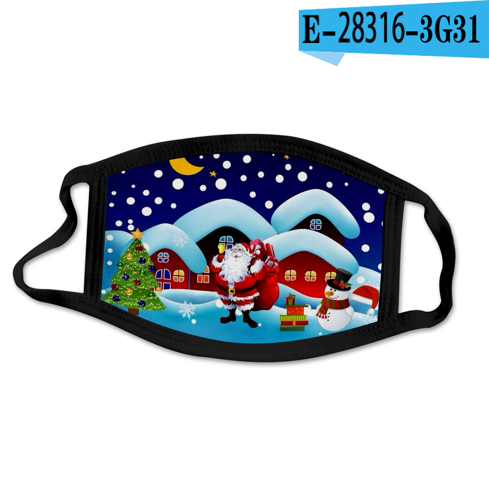 DHL Shipping Christmas Face Mask Santa Claus Snowflake Animal Deer 3D Painting Party Masks Anti Dust Fog Mouth Cover Facemask B212F