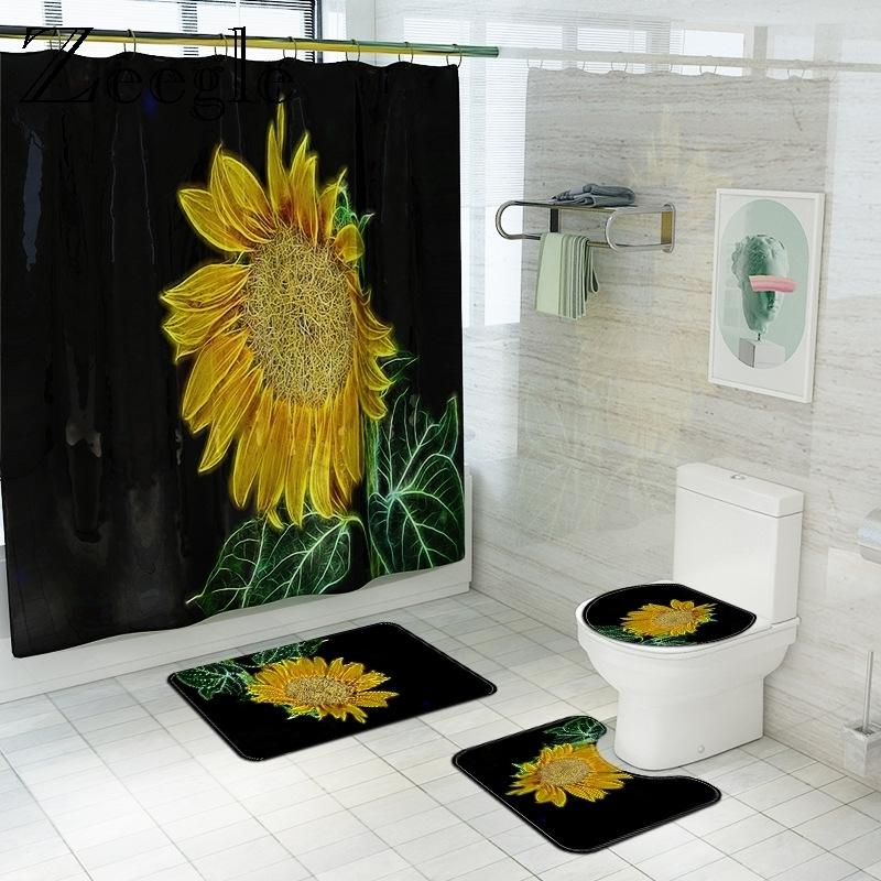 American Country Floral Bath Mat with Shower Curtain Microfiber Toilet Cover Bath Mat Set Non-Slip Bath Carpet Shower Foot Mat