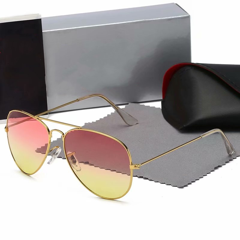 mens sunglasses top quality aviation pilot shades sun glasses for men women with black or 3025 leather case, cloth, and retail accessories