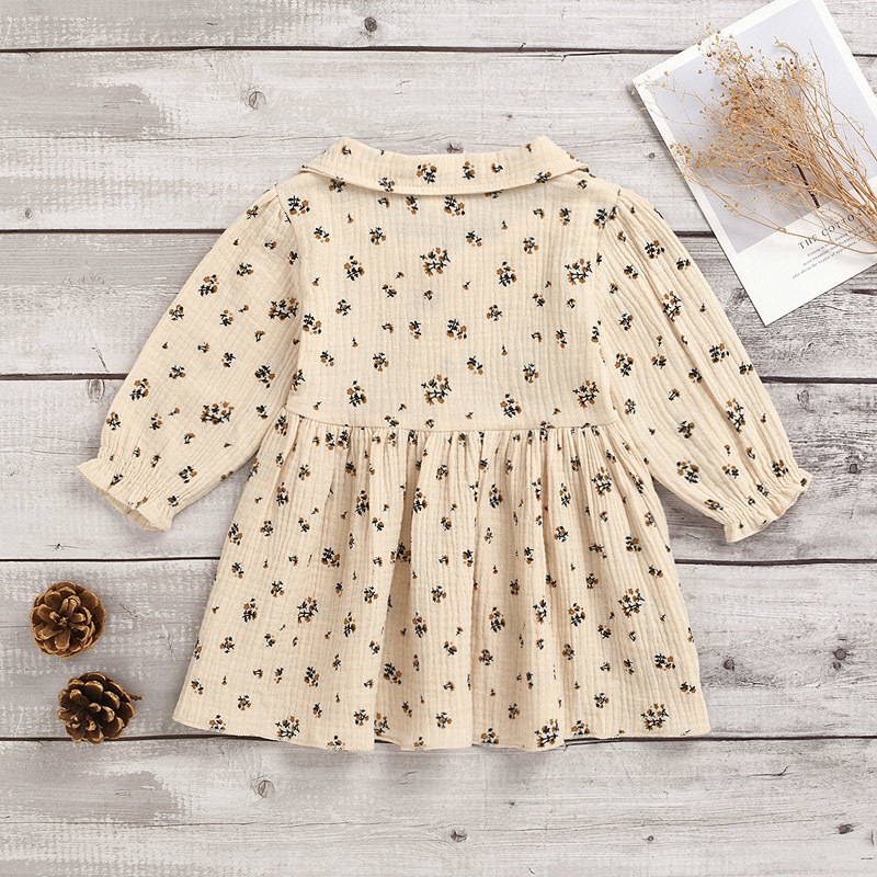 Kids Girls Floral Dress Toddler Little Floral Long Sleeve A-line Dress Kids Clothes Girls Outfits Infant Solid Lapel Dresses 060325