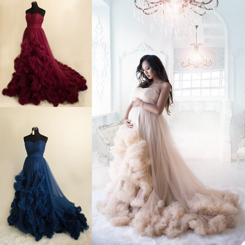 Fashion Maternity Dress for Photoshoot or Babyshower Sweetheart Puffy Ruffled Tulle Long Prom Dresses Plus Size Draped Photo Prop Dress