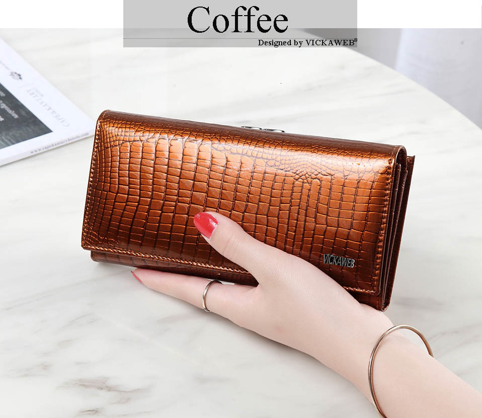 VICKAWEB Long Thick Wallet Female Fashion Alligator Purse Women Genuine Leather Standard Wallets Hasp womens wallets and purses-AE1518-014