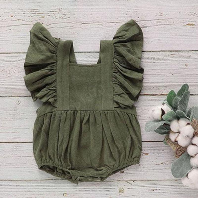 kids clothes girls boys Solid romper newborn infant Ruffle Sleeve Jumpsuits Square Collar 2020 summer baby Climbing clothes