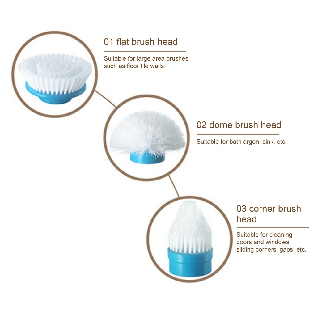 3PcsSet Electric Cleaning Brush Wireless Cleaner Electric Rotary Mop Replacement Brush Head for Home Kitchen Bathroom Cleaning