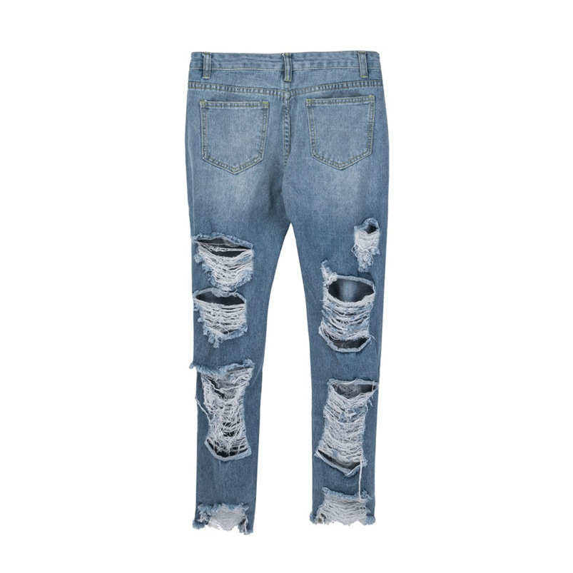 Hole Jeans Woman Plus Size New Sexy Pencil Pants Denim Skinny Stretch Soft Tights Jeans Trousers Dropshipping #FS05 (3)