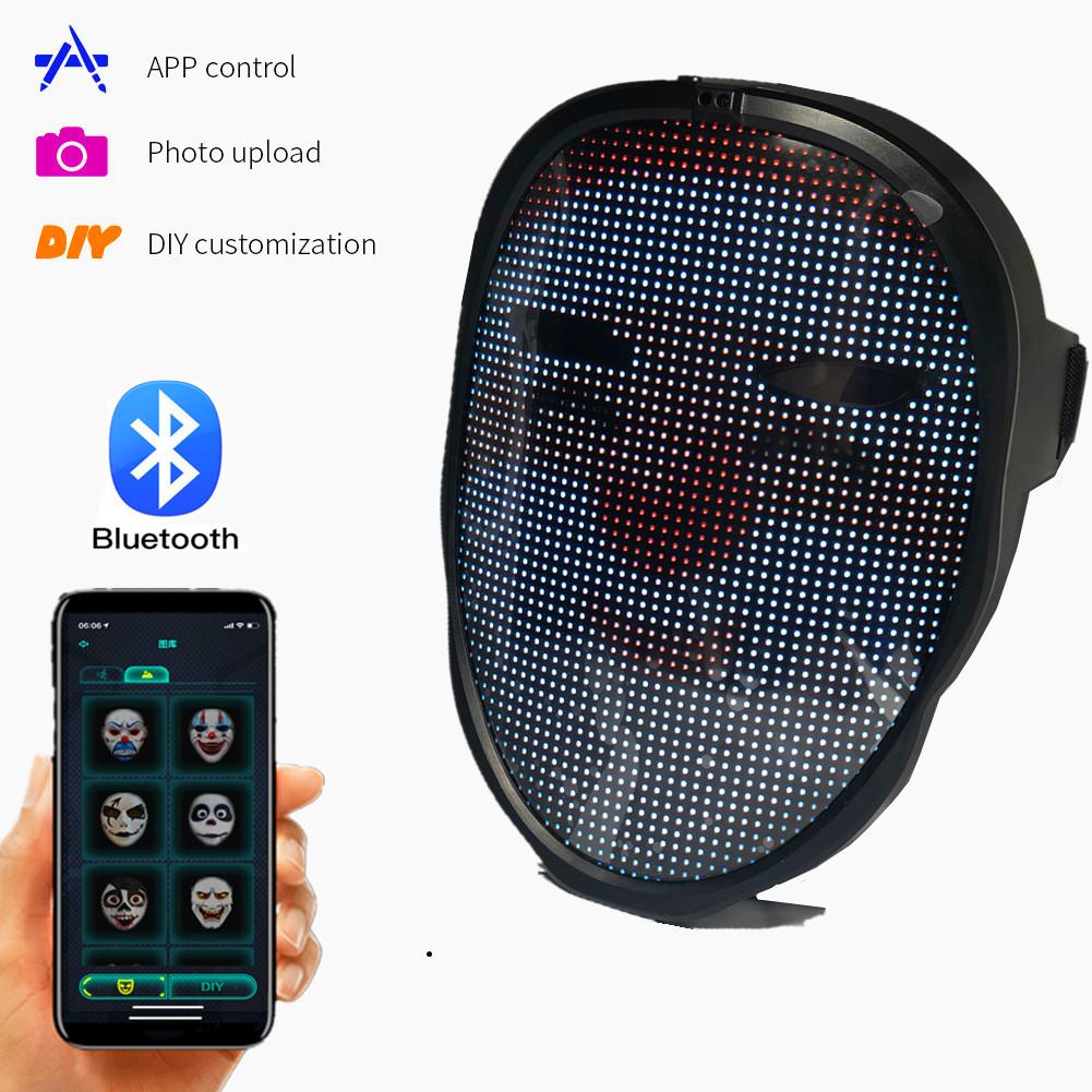 Bluetooth DIY photo animation Glowing Face Mask APP Control Luminous Mask Smart LED Face-changing Light-emitting Party Mask Christmas Gift
