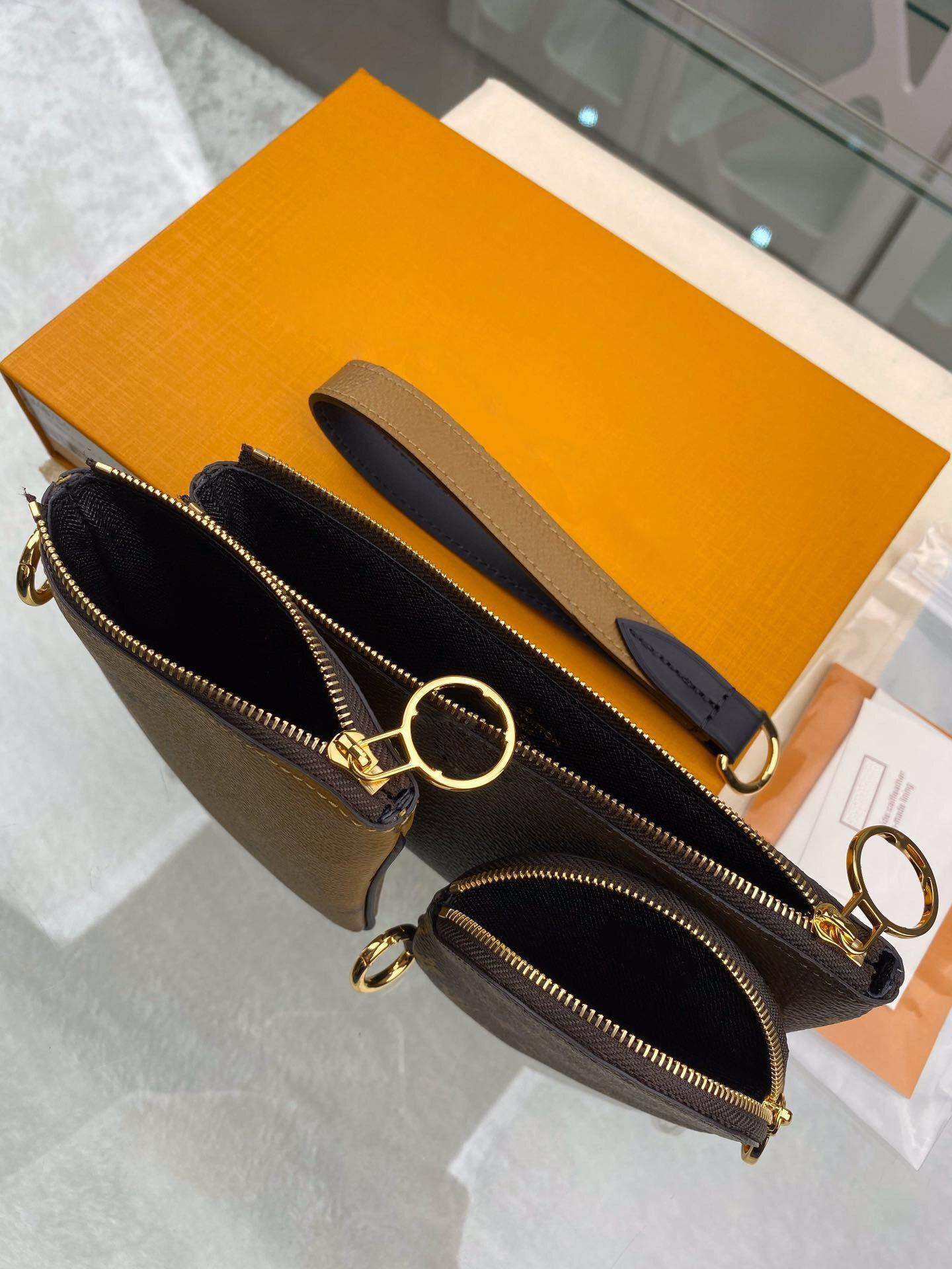 Luxury Designer Coin Purses Set 3-in-One Waistlet Change Pouch Round Square Zippy Wallets Reverse Colors Golden Zipper Flower Wistband