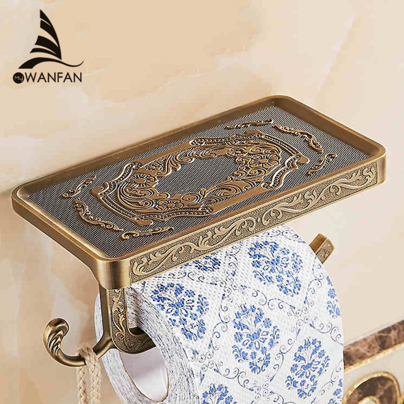 Bathroom Shelves Antique Carving Toilet Roll Paper Rack with Phone Shelf Wall Mounted Bathroom Paper Holder Hook Useful WF1018 Y200407