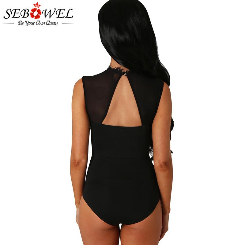 Black-Lace-High-Neck-Cut-Out-Back-Bodysuit-LC32050-2-2
