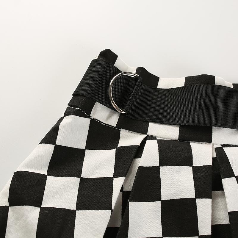 11Sweetown Korean Fashion Checkerboard Pleated Skirts Womens Sashes High Waist Zipper Cotton Short Skirt Woman Summer Skirts