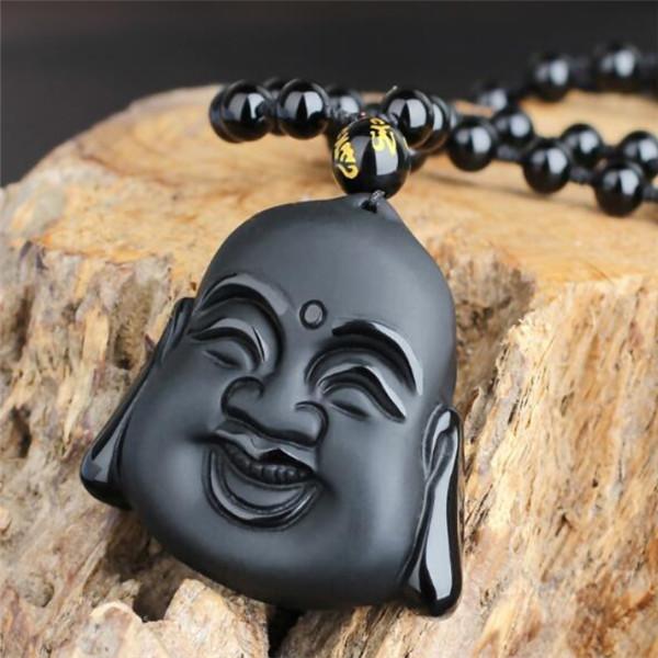 Naturel Noir Obsidian Dragon chinois tortue Lucky Pendentif Perles Collier