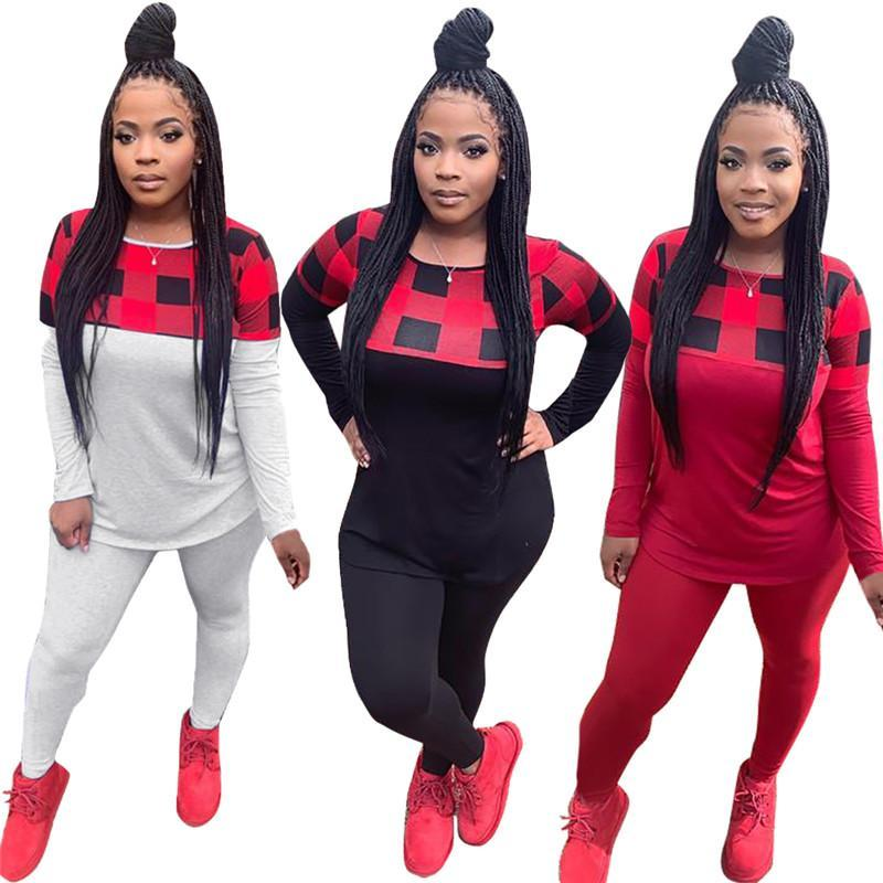 women tracksuit long sleeve outfits shirt pants two piece set skinny shirt tights sport suit pullover pants hot selling klw5824