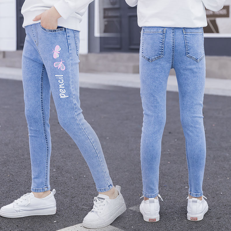 Young Girl Jeans with Butterfly Print Princess Skinny Jeans Kids Denim Leggins Butterfly Jeans for Girls Denim Pants 4-14 Years C1123
