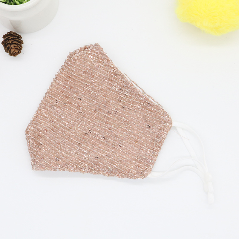 sequins mask fashion bling 3D washable reusable mask PM2.5 face shield sun color gold adjustable face cover masks with filter