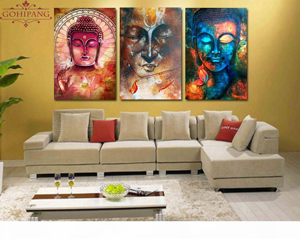 5 Pcs Canvas Modern Picture Home Room Wall Decor Buddha Zen Landscape Painting