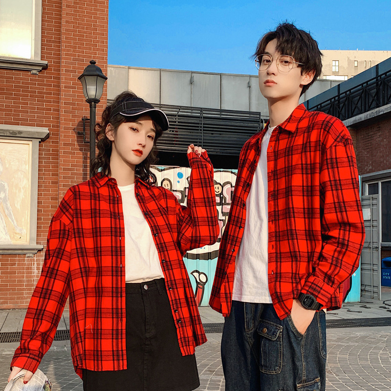 New Spring and Autumn Lovers Plaid Shirt Men