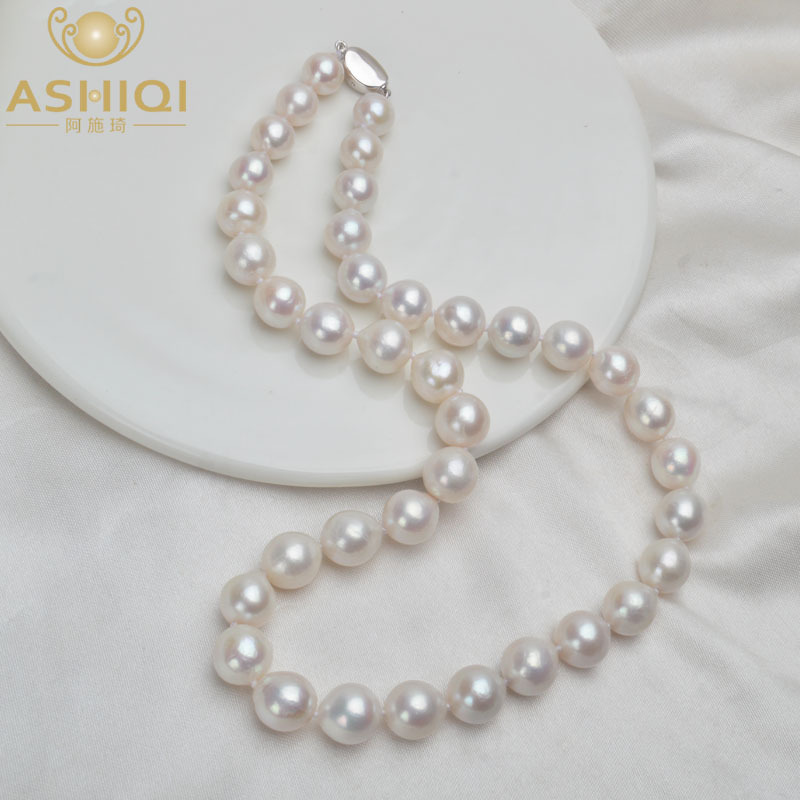 ASHIQI 10-12mm Big Natural Freshwater Pearl Necklace for Women Real 925 Sterling Silver Clasp White Round Pearl Jewelry Gift 201224