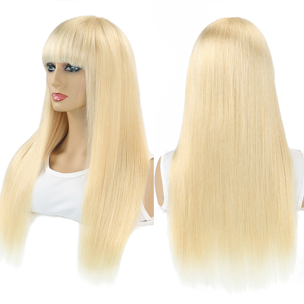 human hair wigs with bangs blonde
