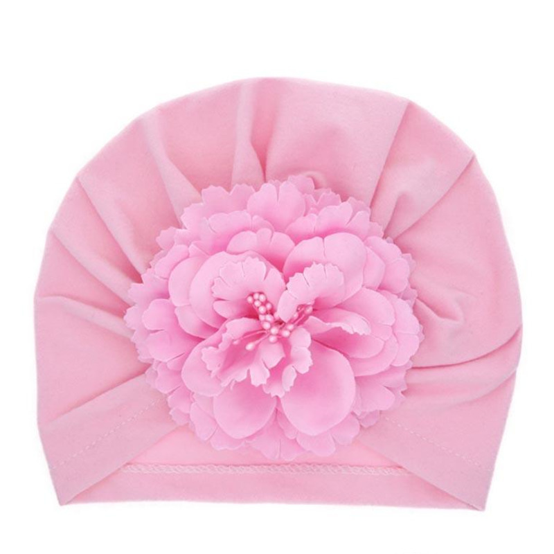 Children Knitted Hat Pearl Flower Flat Eaves Knitted Hat Elastic Pleated Hat Solid color Headcloth 61