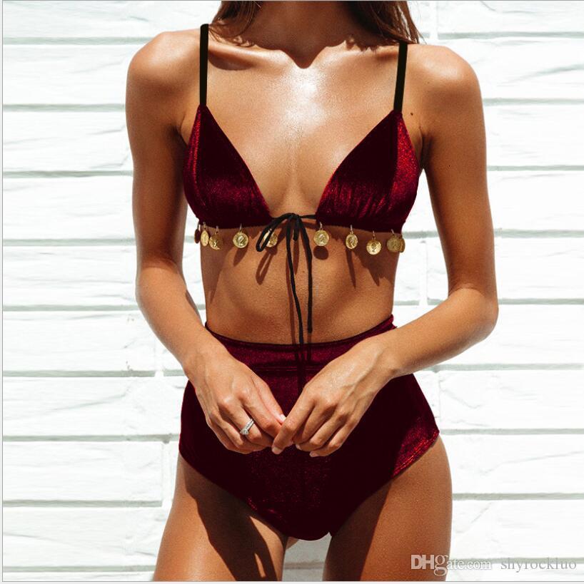 New Gold Velvet Sheet Metal Swimsuit Bikini Fashion Sexy Bikini Swimwear Women Sling V neck Hot Split High Waist Ladies Split Bikini